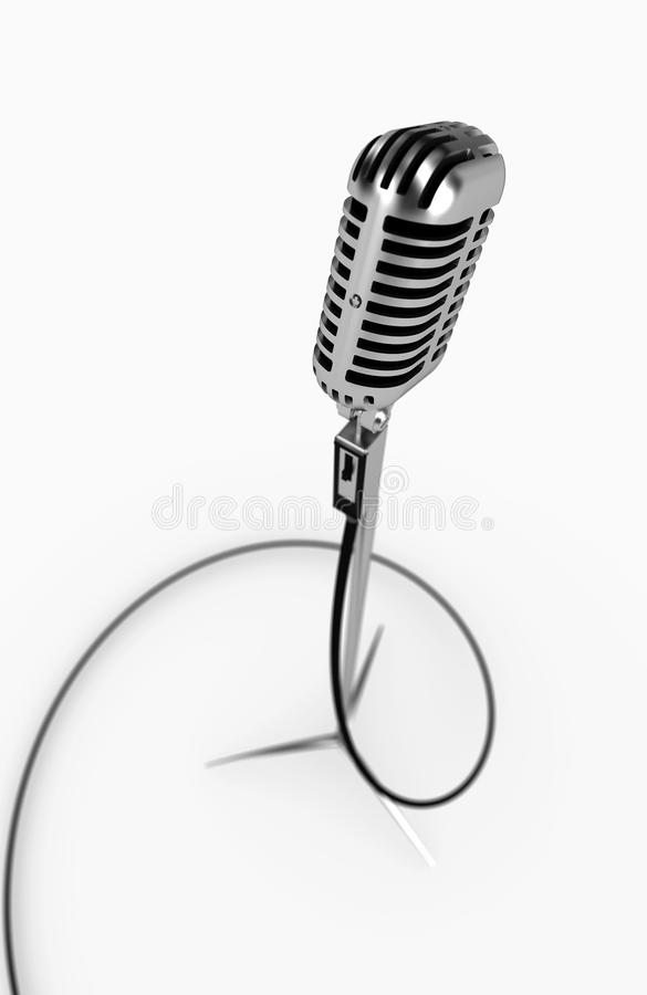 Microphone. Metallic isolated microphone on white stock illustration