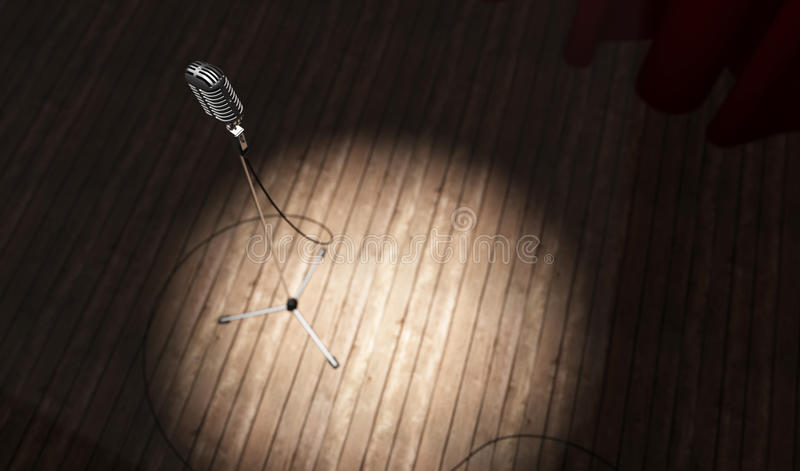 Microphone. Metallic microphone with cord standing on a wood stage stock illustration