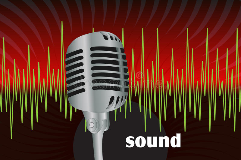 Microphone. Graphic illustration of microphone and sound waves stock illustration
