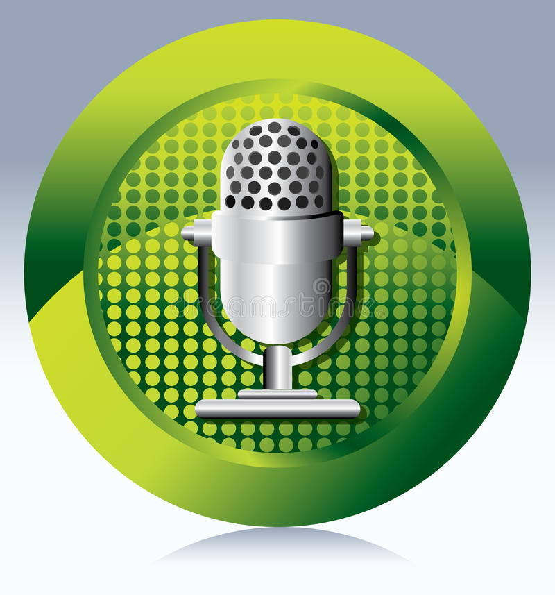 Microphone. Vector Retro Microphone on floral background vector illustration