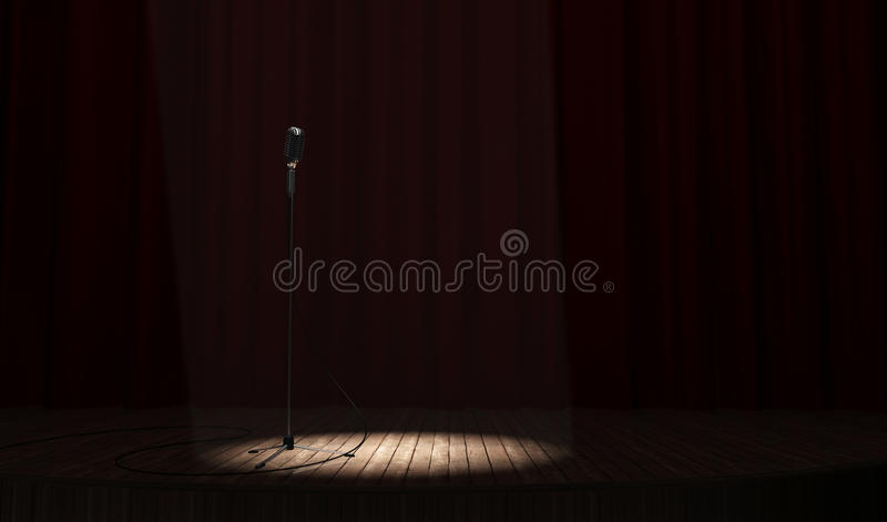 Microphone. Metallic microphone with cord standing on a wood stage vector illustration