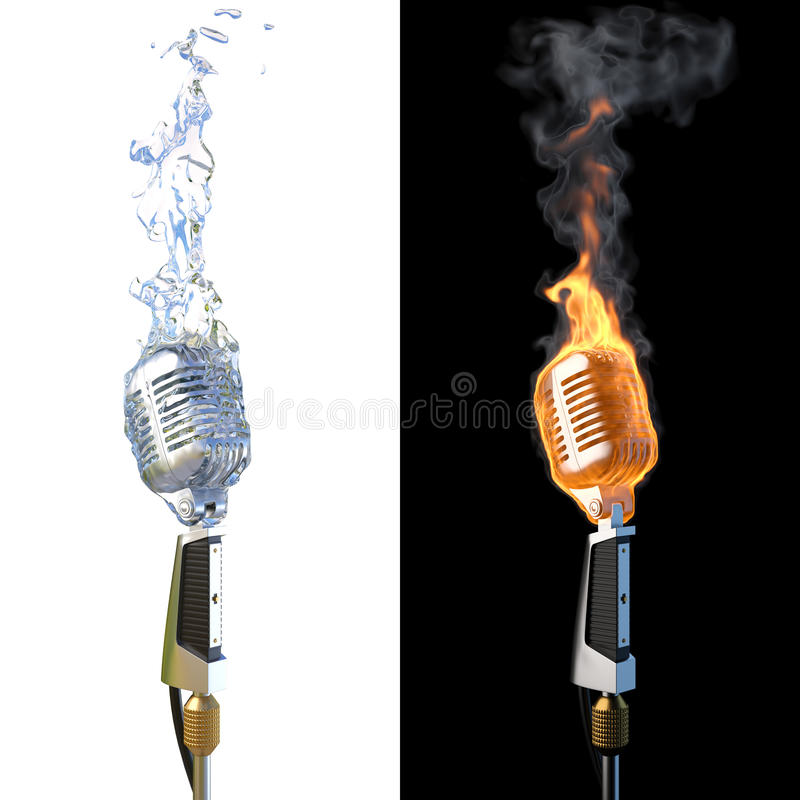 Microphone. Old microphone in flames from fire and from water royalty free illustration