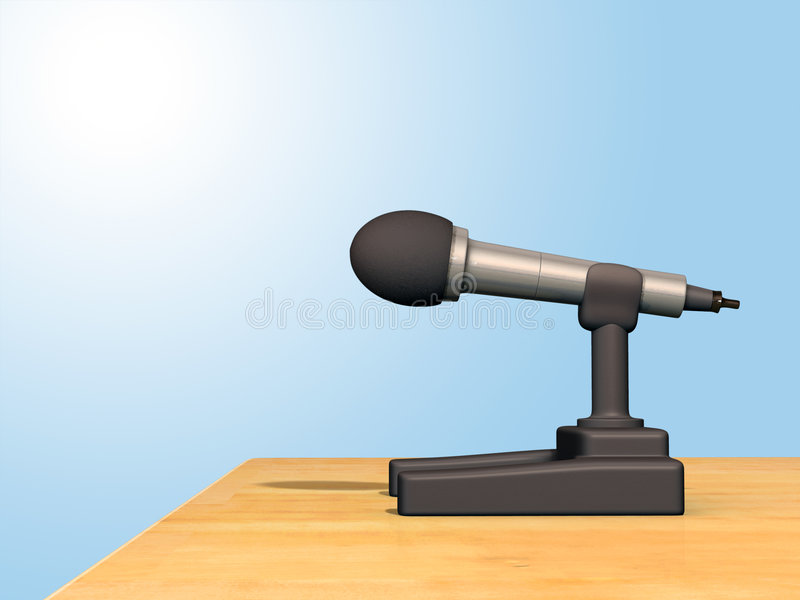 Microphone. Standing on a conference room table. Digital illustration royalty free illustration