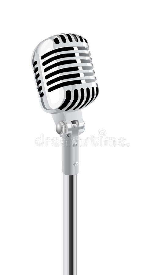 Microphone. Retro Microphone On Stand Isolated Over White stock illustration