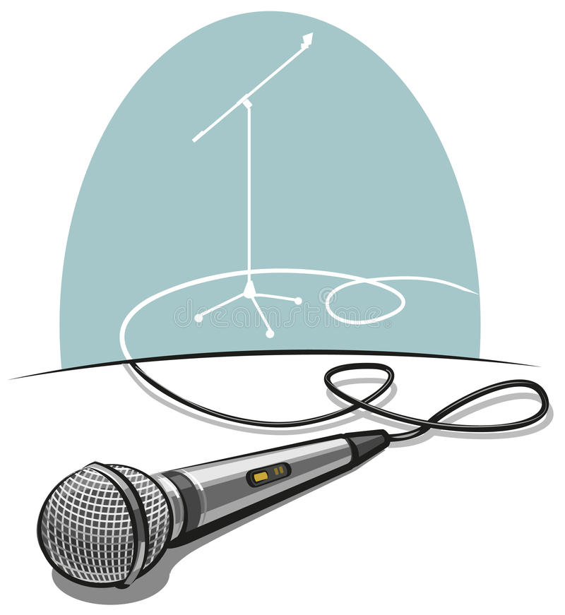 Microphone. Modern metallic microphone at the table stock illustration