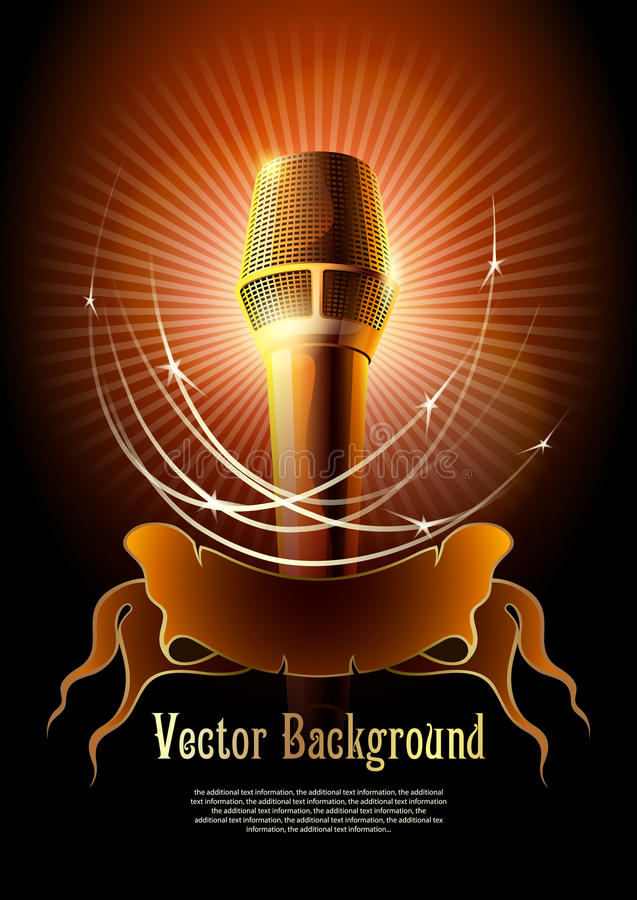 Microphone. Background for design with a microphone and concert light stock illustration