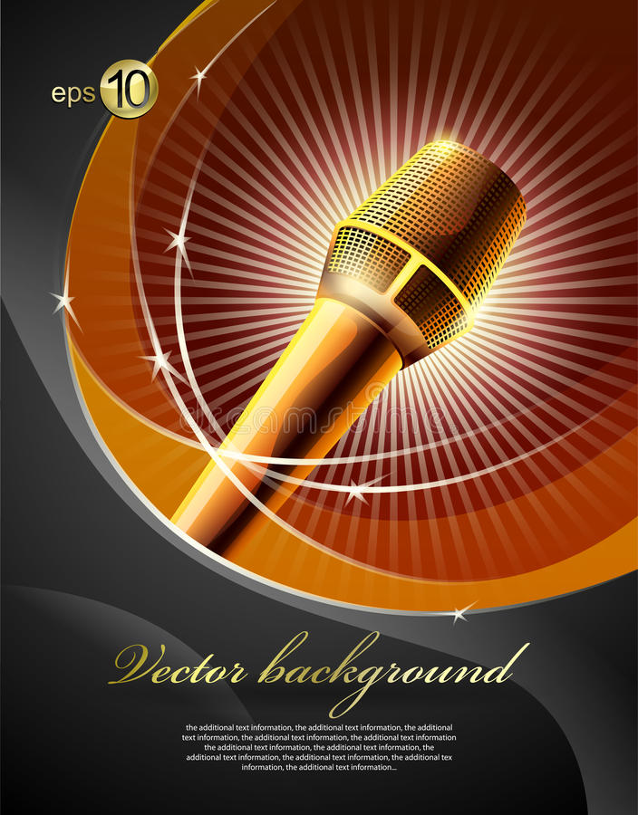 Microphone. Background for design with a microphone and concert light vector illustration