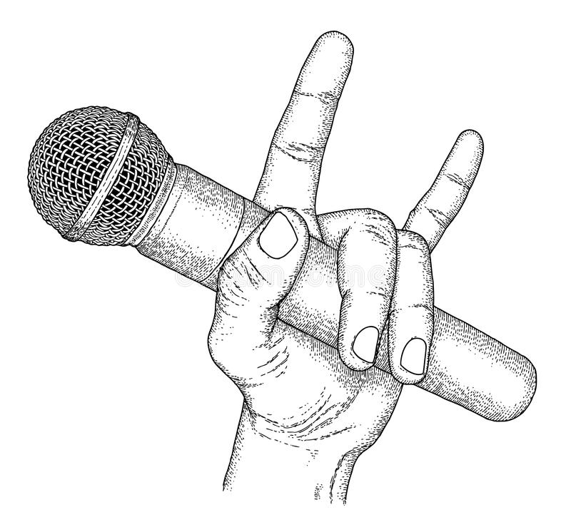 Microphone. Hand drawn hand with microphone royalty free illustration