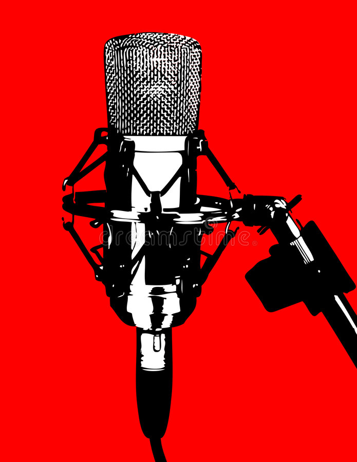 Microphone. Illustration of a studio professional microphone; silhouette style vector illustration