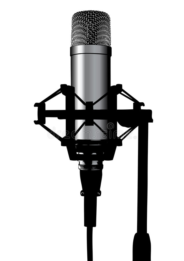 Microphone. Illustration of a studio professional microphone; silhouette style royalty free illustration