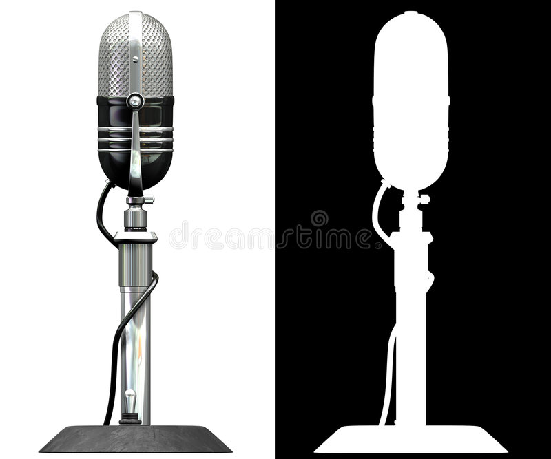 Microphone. 3d render of old styled microphone. side view vector illustration