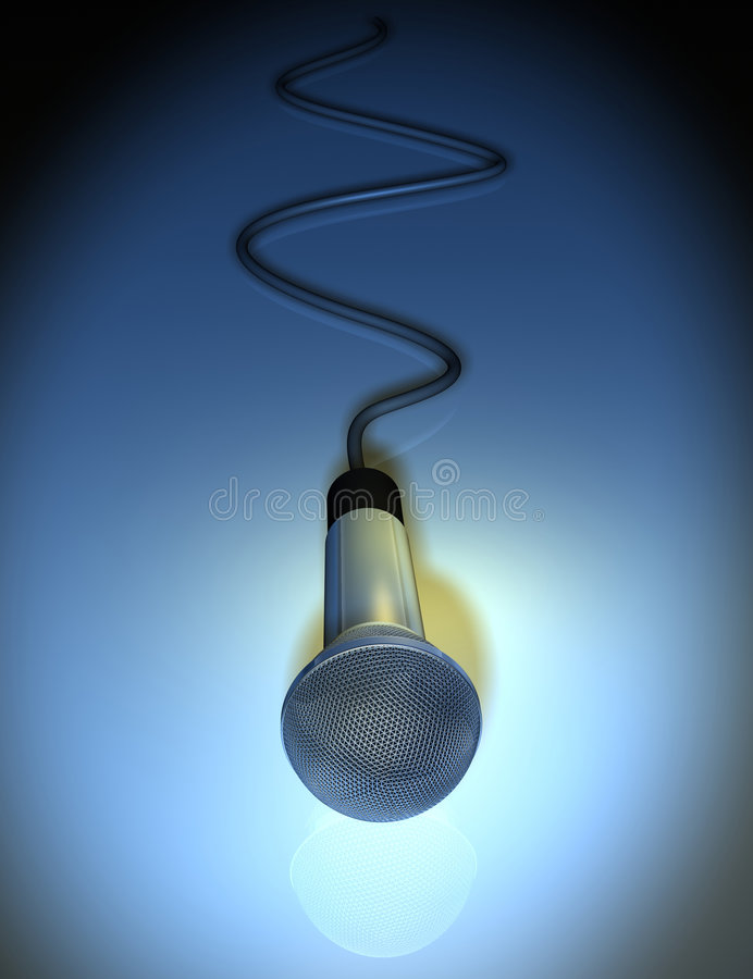 Microphone 6. A chromed microphone on blue background - 3d render stock illustration