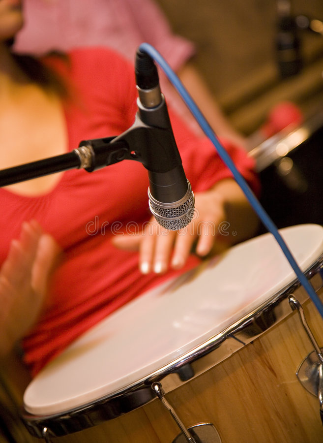 Microphone above drum stock photography