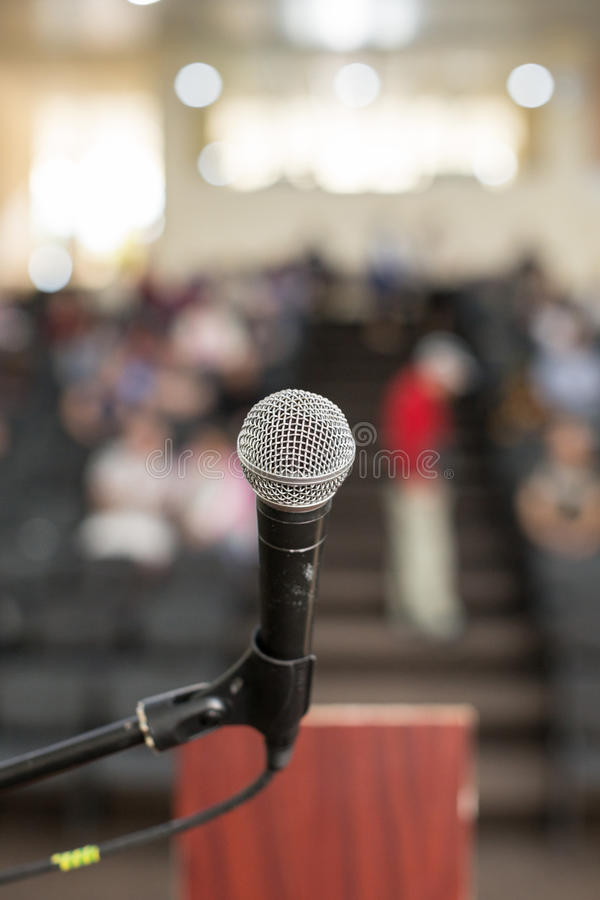 Microphone. Against the background of convention center royalty free stock images
