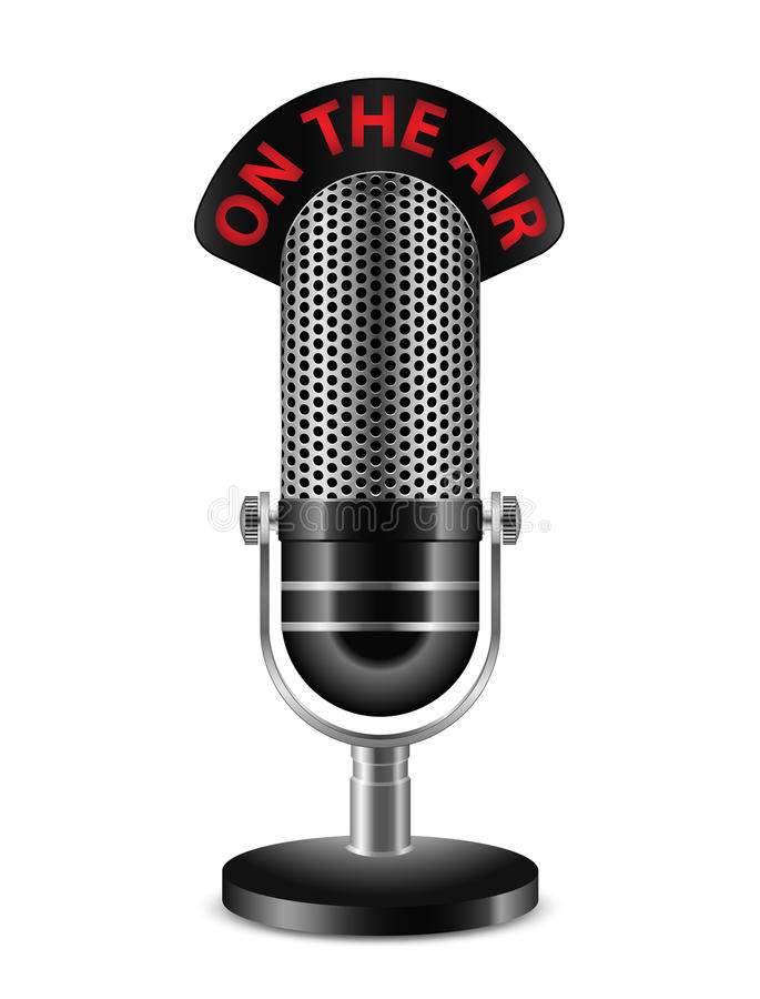 Microphone. On The Air. Illustration of Black Microphone. On The Air royalty free illustration