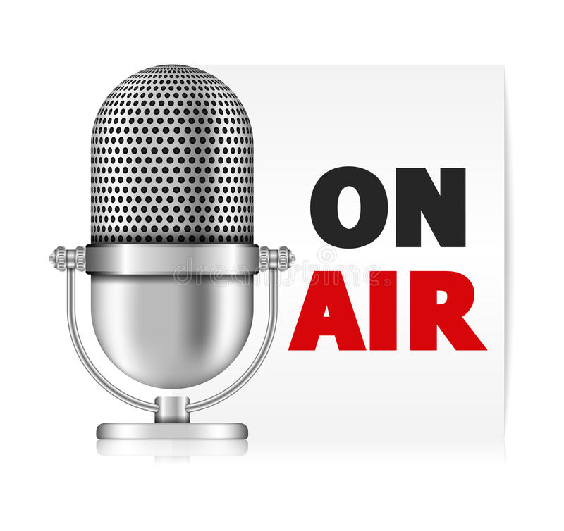 Microphone On Air. Llustration of microphone on air banner royalty free illustration