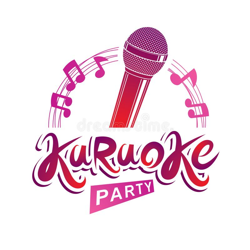 Microphone audio equipment composed with musical notes, can be u. Sed as vector emblem for karaoke party advertising and nightclub discotheque invitation poster royalty free illustration