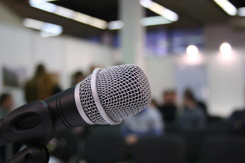 Microphone in auditorium stock photos