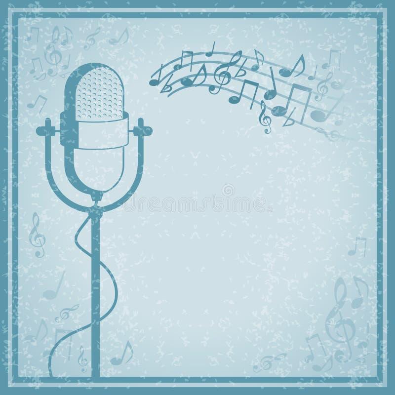 Microphone avec la musique sur le fond de vintage illustration stock