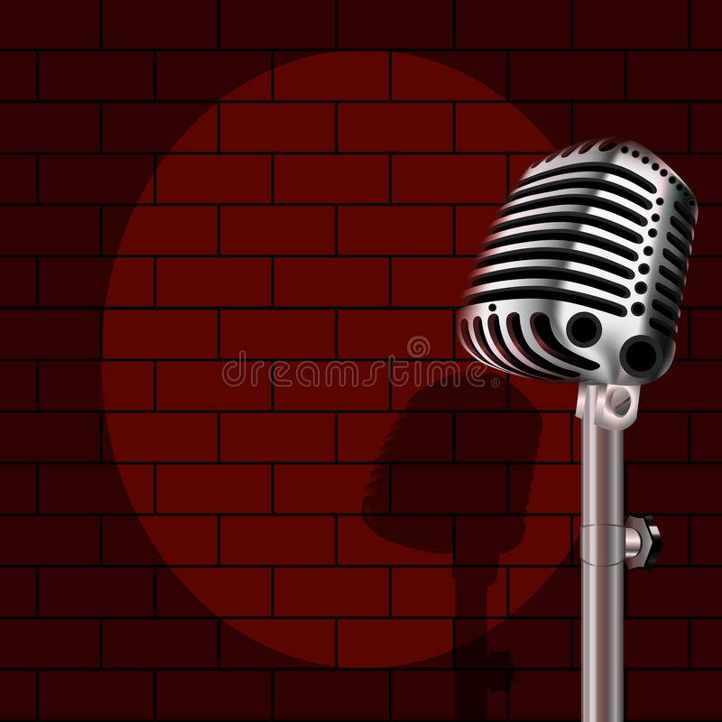 Microphone on a background of red brick. Vector art illustration royalty free illustration