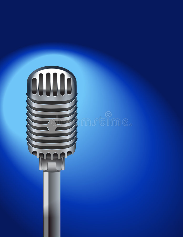 Download Microphone on blue stock vector. Image of retro, performance - 7409519