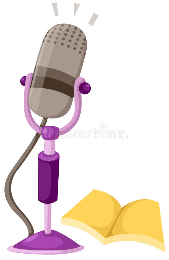 Microphone and book. Illustration of isolated microphone and book royalty free illustration