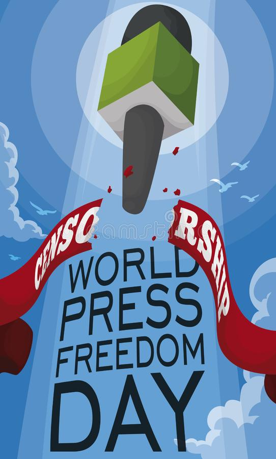 Microphone Breaking the Censorship of Journalism during Press Freedom Day, Vector Illustration. View of a microphone flying and breaking a ribbon that represents stock illustration
