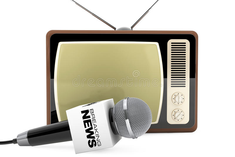 Microphone with Breaking News Box Sign and Retro Old TV. 3d Rend. Microphone with Breaking News Box Sign and Retro Old TV on a white background. 3d Rendering stock illustration