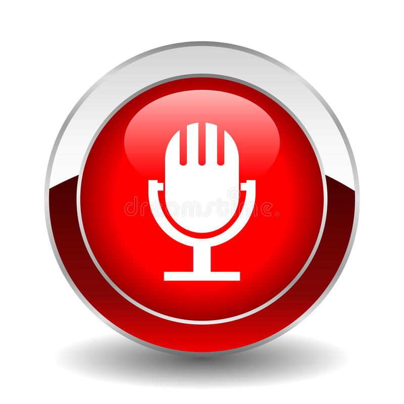 Microphone button. On air microphone glossy button vector illustration