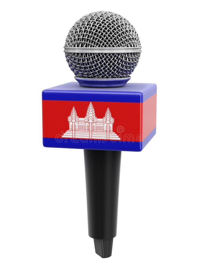 Microphone and Cambodian flag. Image with clipping path royalty free illustration