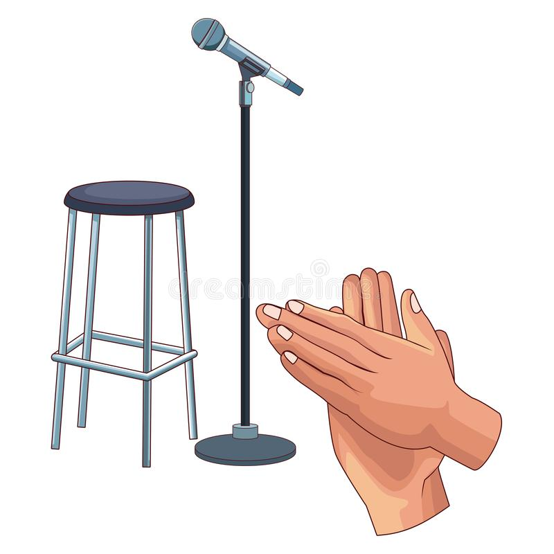 Microphone and chair. Icon cartoon and hands clapping vector illustration graphic design royalty free illustration