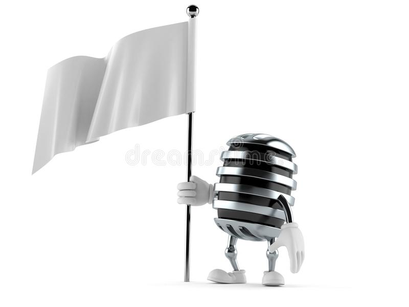 Microphone character holding blank flag stock illustration