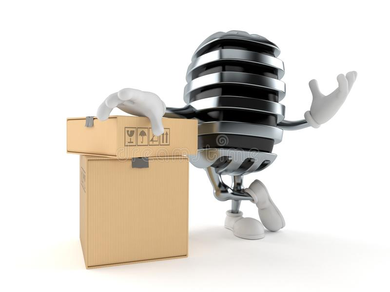 Microphone character with stack of boxes stock illustration