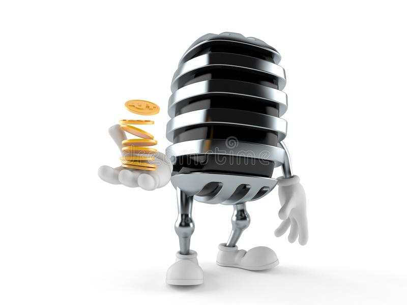 Microphone character with stack of coins stock illustration