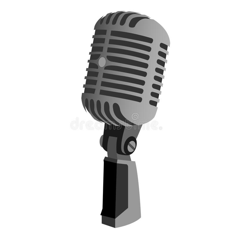 Microphone classic with stand. Microphone icon is still a picture that many in the search in the internet world, because music or sound can not be separated from royalty free illustration