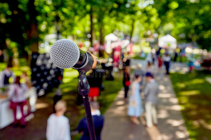 Microphone for concert outdoor event royalty free stock image