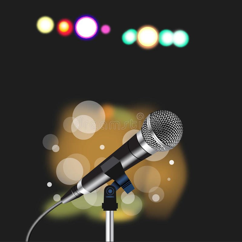 Microphone cord abstract Spotlight. Microphone with a cord on abstract Spotlight background vector illustration