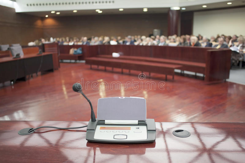 Microphone at court house. During the prosecution royalty free stock photos