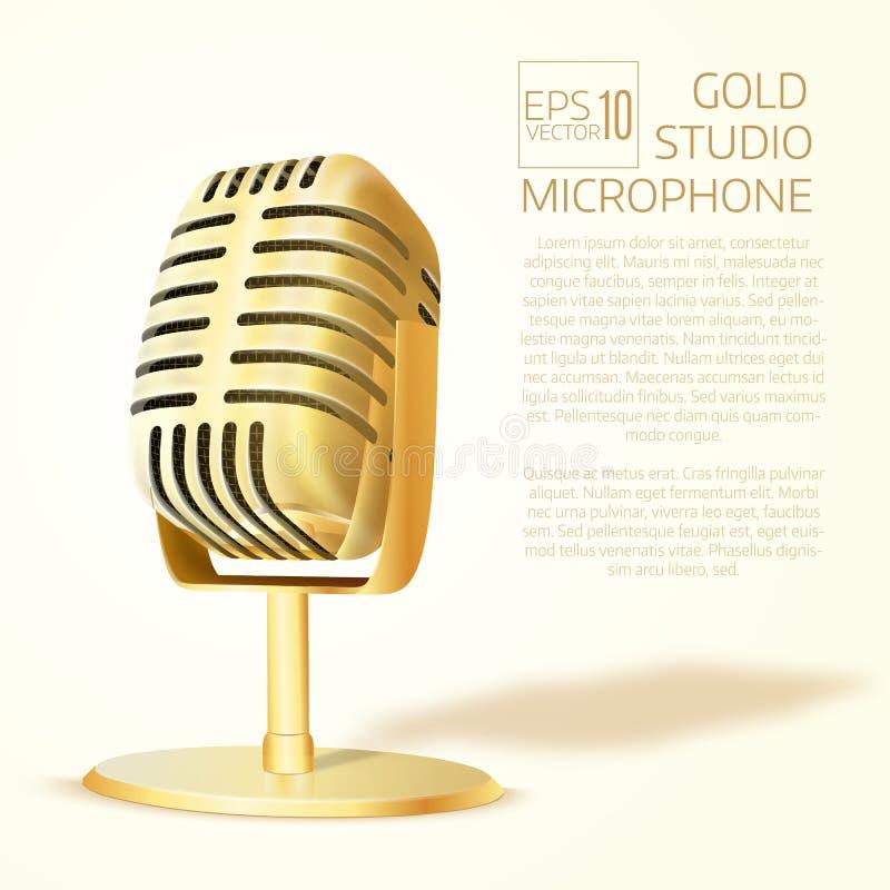 Microphone d'or brillant de studio Illustrati réaliste de vecteur illustration stock