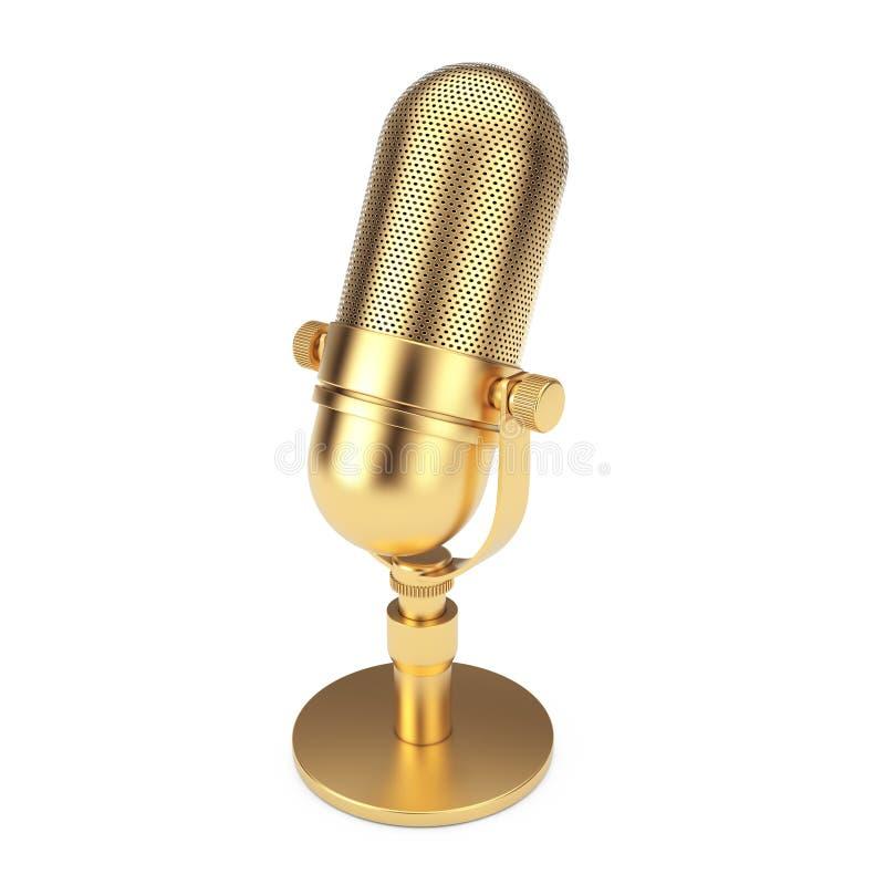 Microphone d'or de cru rendu 3d illustration libre de droits