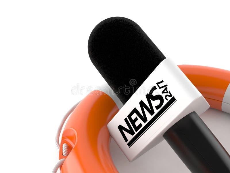 Microphone d'entrevue à l'intérieur de balise de vie illustration de vecteur