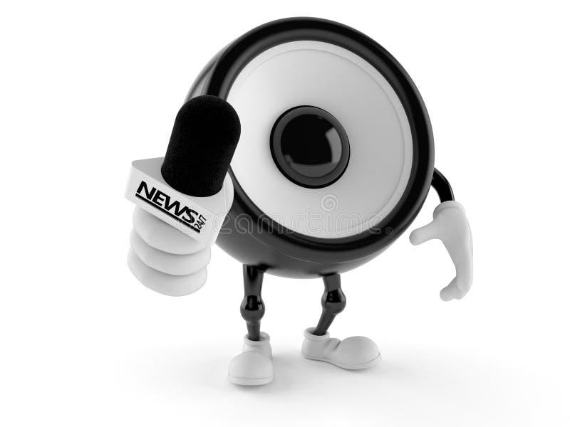 Microphone d'entrevue de participation de caractère de haut-parleur illustration de vecteur