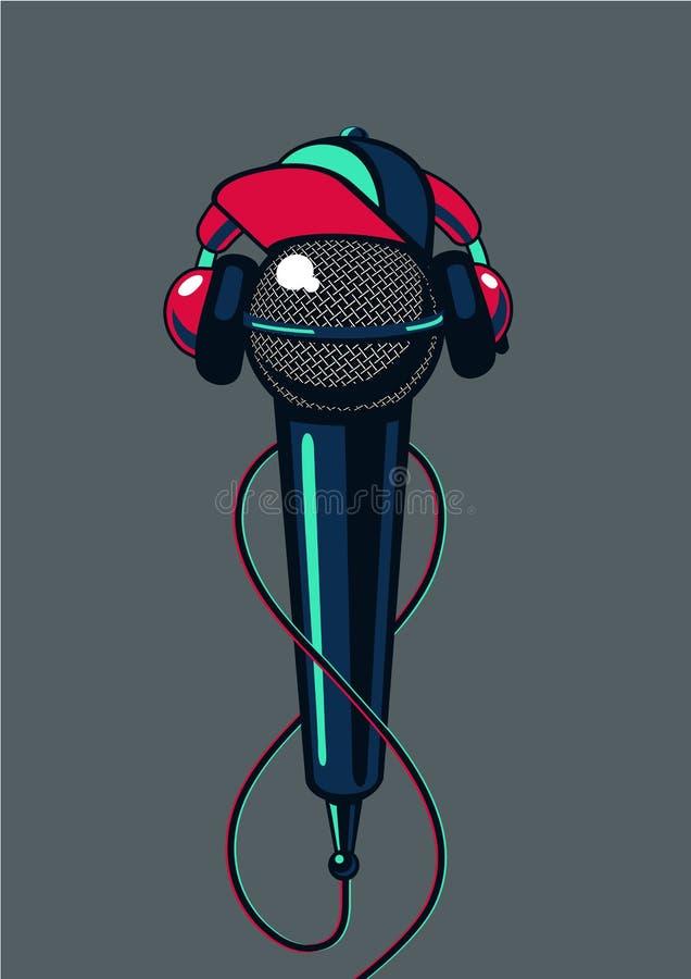 Microphone d'houblon de hanche avec le chapeau sur le fond d'isolement Bataille de mètre-bougie d'affiche de rap illustration stock