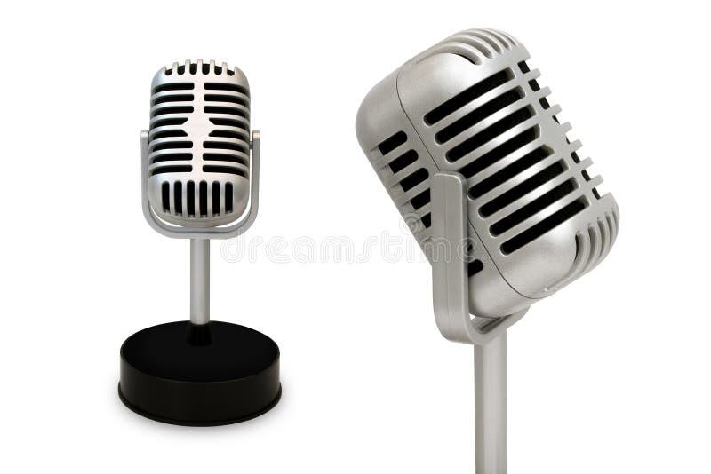 Microphone de bureau séparé d'un fond blanc St de vintage photographie stock libre de droits