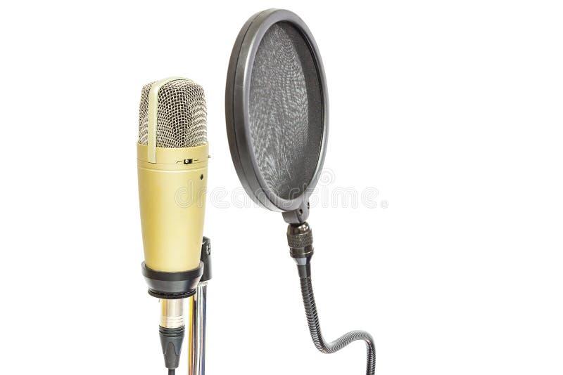 Microphone de condensateur professionnel avec le filtre de bruit images libres de droits