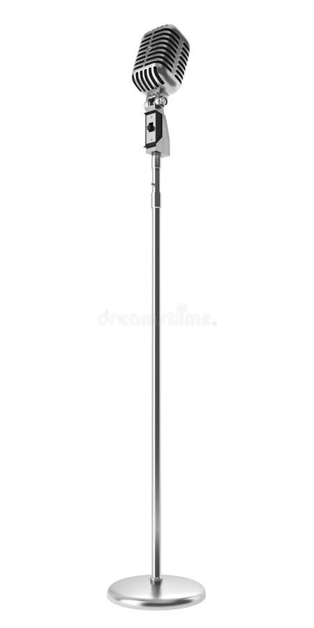 Microphone de cru d'isolement sur le blanc illustration libre de droits