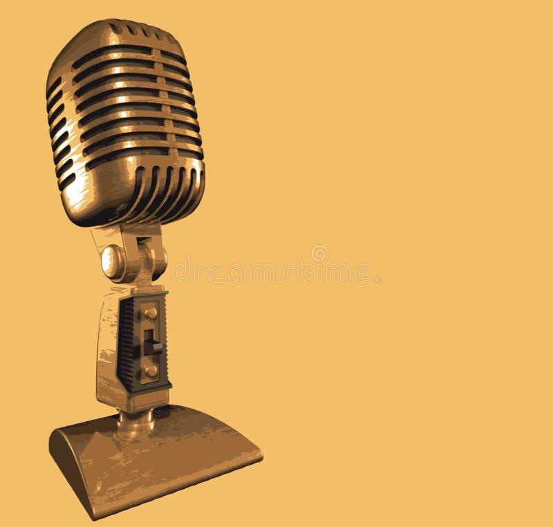 Microphone de professionnel d'or illustration de vecteur