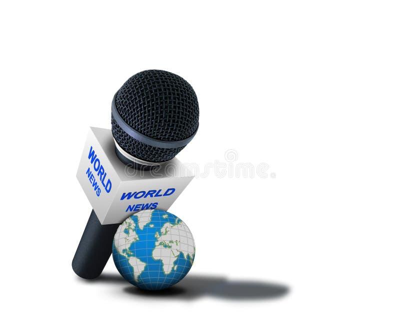 Microphone De Reportage De Nouvelles Du Monde Images libres de droits