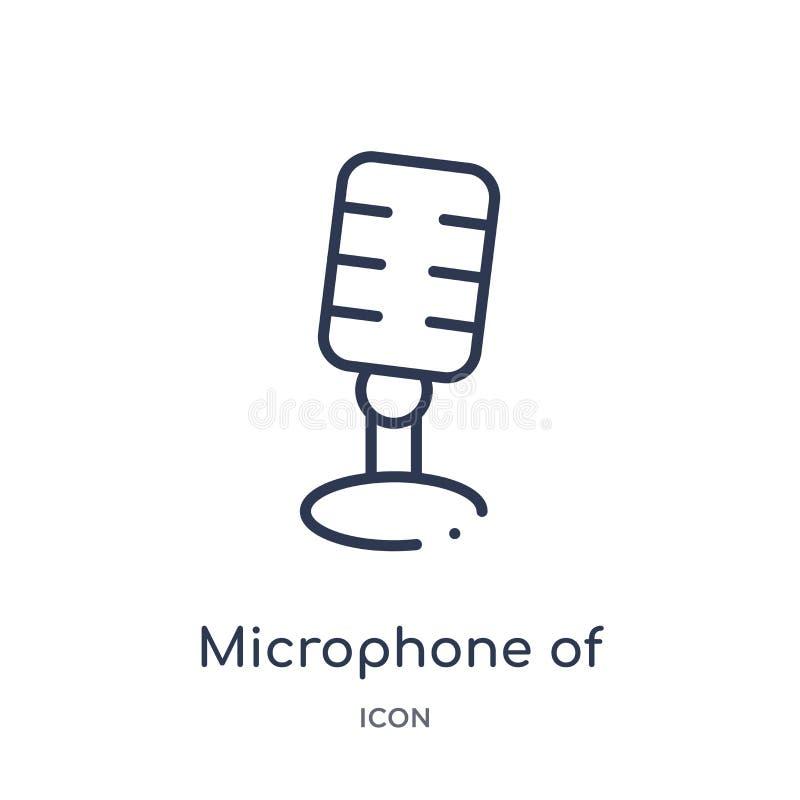 microphone de vintage de icon de collection d'ensemble d'outils et d'ustensiles La ligne mince microphone de vintage de icon a is illustration libre de droits