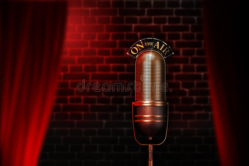 Microphone de vintage sur l'étape rouge de cabaret illustration de vecteur